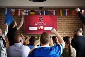 Soccer fans watching TV