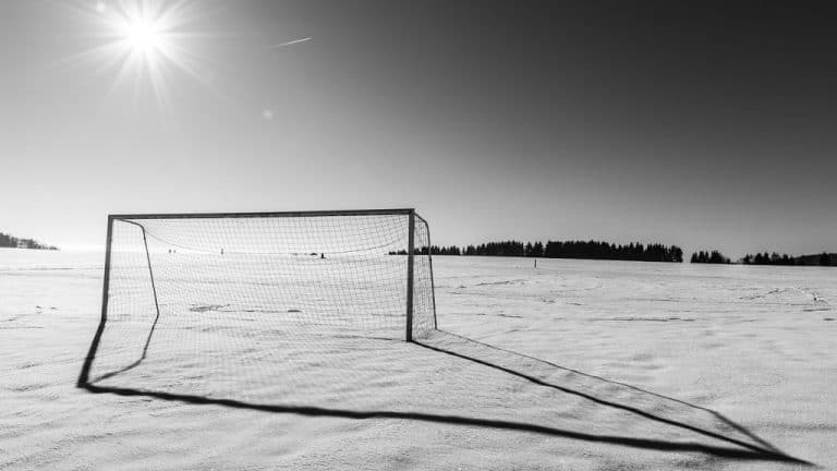 Soccer pitch in snow