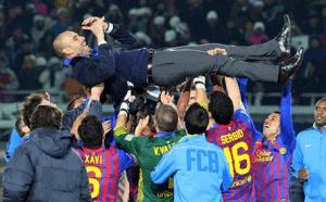 Pep Guardiola and players