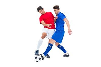 poke tackle two soccer players